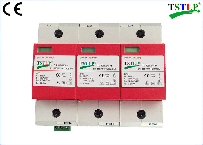 Three Phase / 3 Pole Surge Protection Device 385Vac 60kA - 120kA Class 1